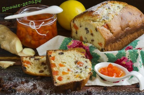 Имбирный кекс с изюмом и морковным вареньем