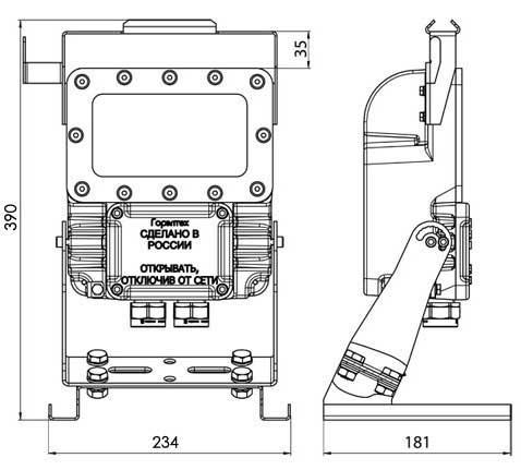 Чертеж светильника переносного светодиодного взрывозащищенного СГР07-4960С, СГР07-7440С, СГР07-9920С