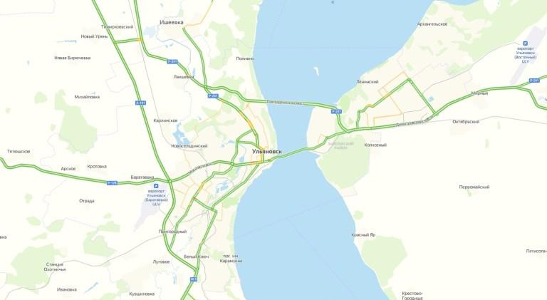 Пробки в Ульяновске онлайн сейчас на карте Яндекс