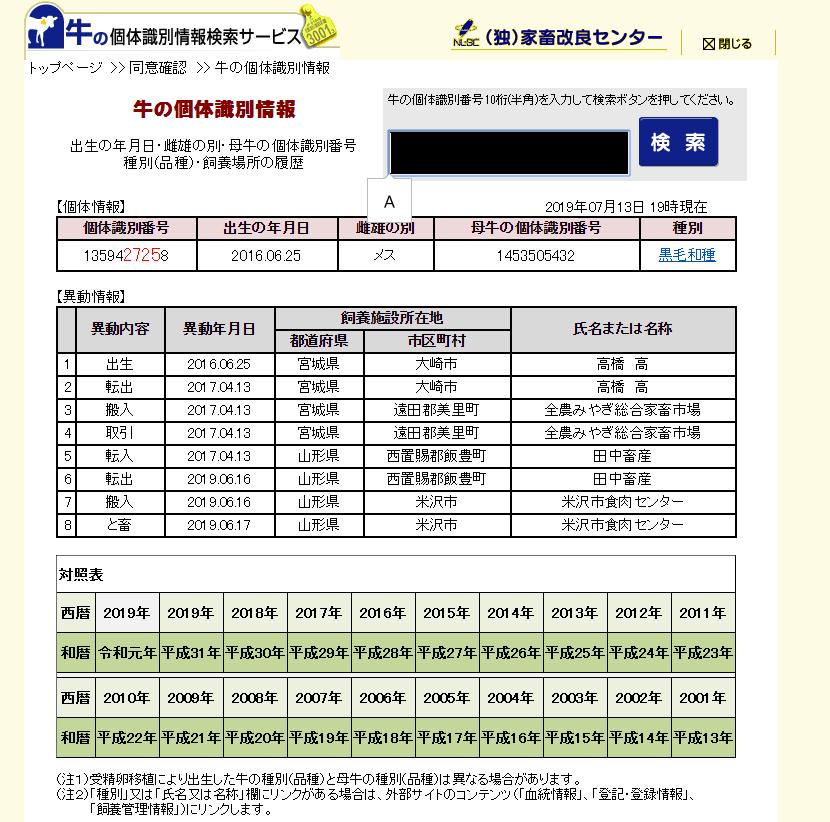 米沢牛さかの個体識別番号検索結果