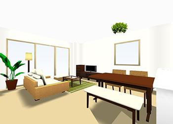 12畳のLDKに家具を配置する場合のレイアウト実例