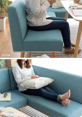 足を上げてゆったりと座れるソファダイニング
