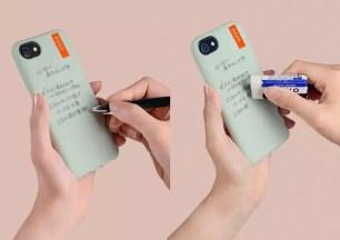 用原子筆在iPhone的背面寫下備忘便條吧!可穿戴式備忘錄「wemo手機保護套款」