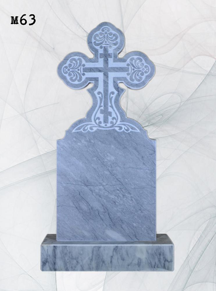 Мраморный памятник резной крест