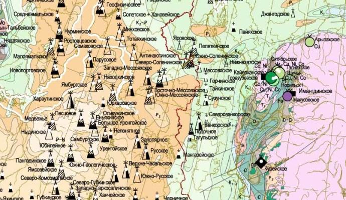 Карта местоположений полезных ископаемых России - фрагмент.