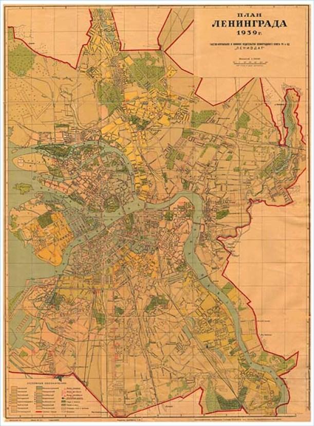Старинная карта Ленинградская область
