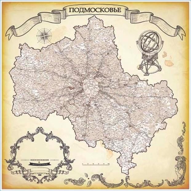 Большая настенная карта Московской области