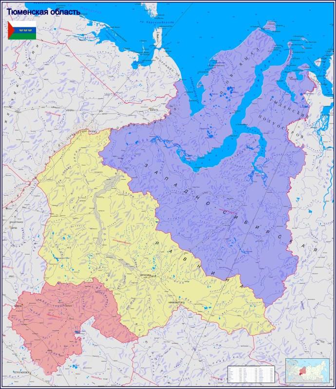 Подробная большая карта Тюменской области со всеми населёнными пунктами, дорогами, административными границами