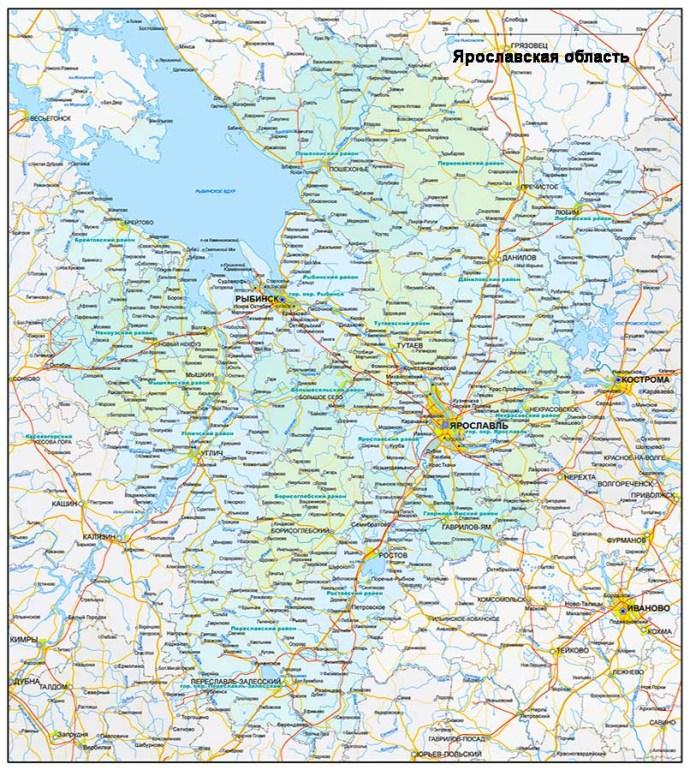 Настенная карта Ярославской области