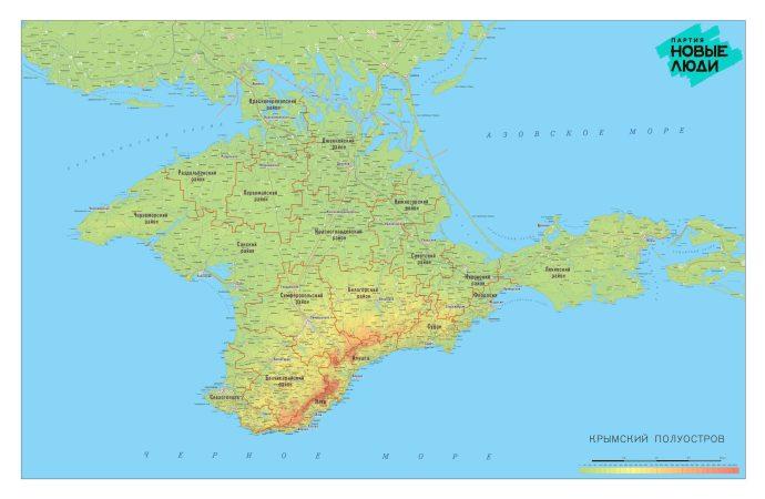 Купить карту Крыма с границами районов