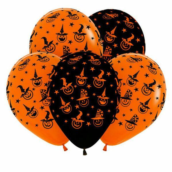 Воздушные шары на хеллоуин с тыквами