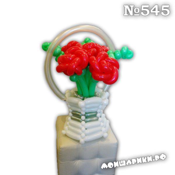 Средняя корзинка с розами из шаров