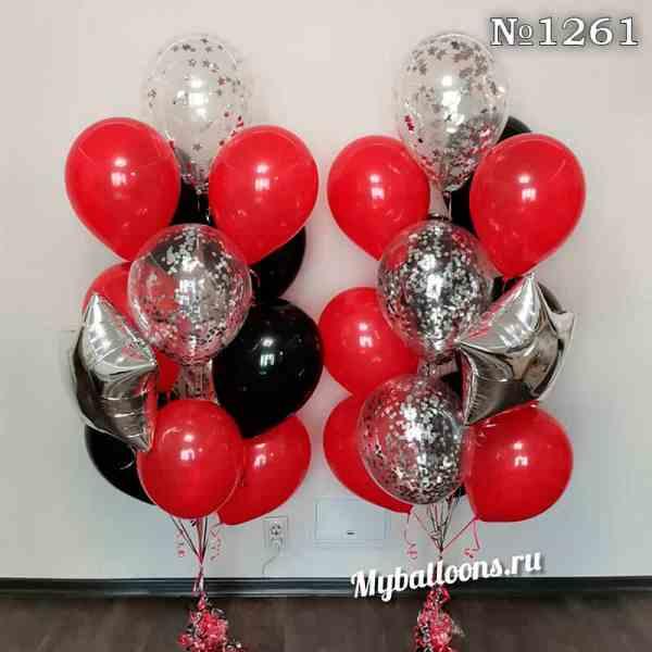 Яркие фонтаны из красных и черных шаров
