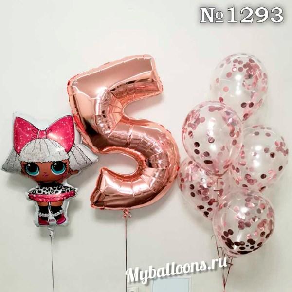 Кукла с цифрой и фонтан из шаров с конфетти