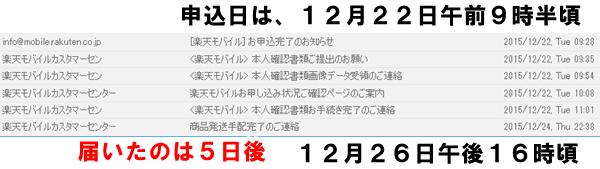 申し込み22日→受け取り26日(祝日が1日あり)