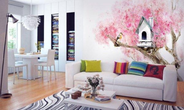 Интерьеры с фотообоями в гостиной: Фотообои в гостиной ...