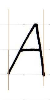 アルファベット『A』をきれいに書くコツは、左右非対称に書く事です。