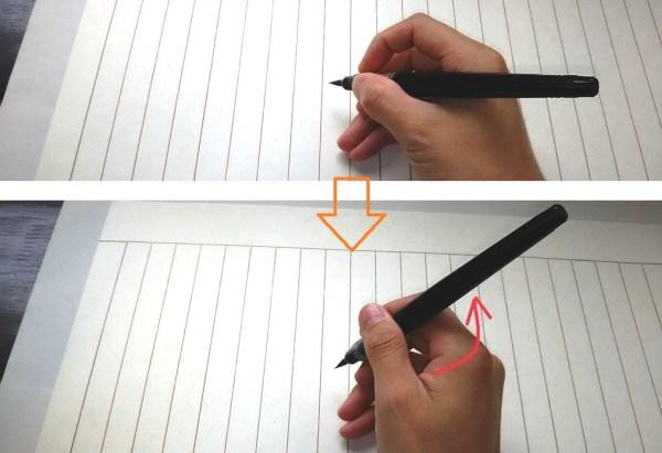 筆ペンのコツは立てて書く事です。~筆ペンで年賀状を書く前に!筆ペンの持ち方だよ