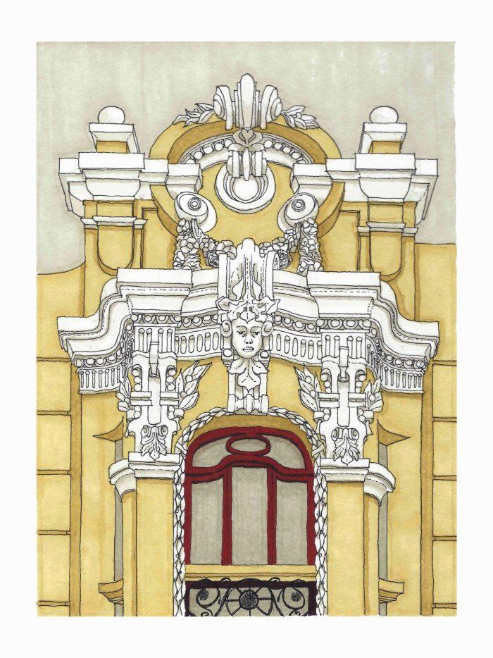Dibujo de detalle del nº 12 de Rúa Ferrol