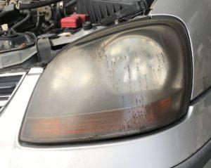 ニッサン ティーノ V10 ヘッドライト磨き!黄ばみ 曇り取り!