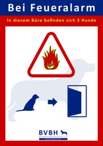 Bürohund: Aushang Feueralarm 3 Hunde im Büro