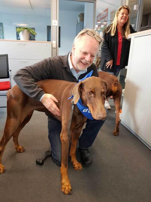 Markus Beyer mit Bürohund Despina Axel Springer