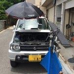 デントリペア作業風景 日傘