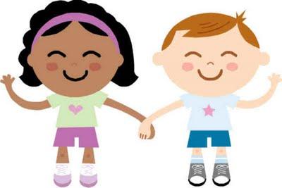 niño y niña enamorados y felices
