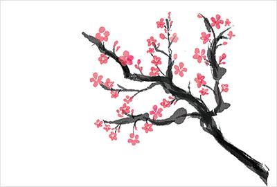 様々なタッチでお洒落に描かれた梅