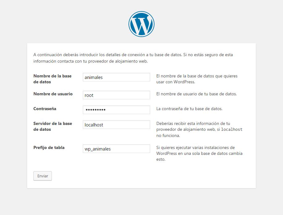 Instalador de WordPress - Paso 2