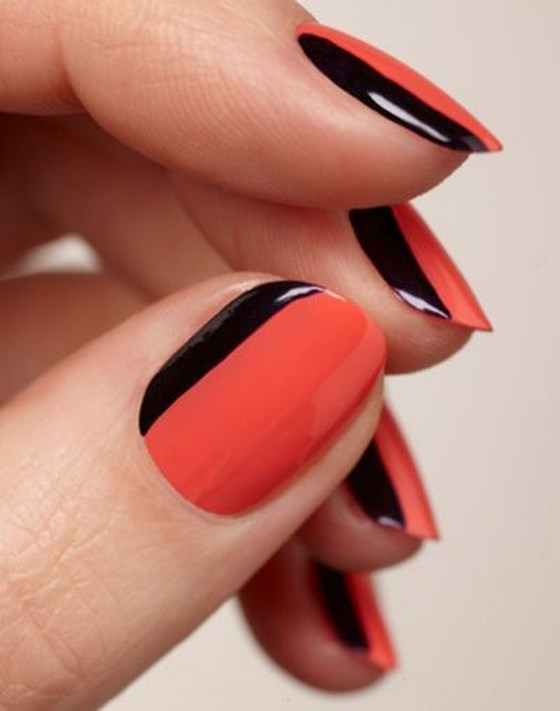 nail-art-en-color-naranja-y-negro