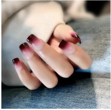 Uñas Postizas,Natural Francés Nails,24Pcs De Uñas Largas Falsas De Color Degradado De Vino Tinto,Uñas Falsas Populares De Moda