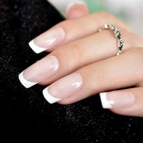 Uñas falsas de color beige natural con forma cuadrada, color blanco francés, uñas falsas de cubierta completa