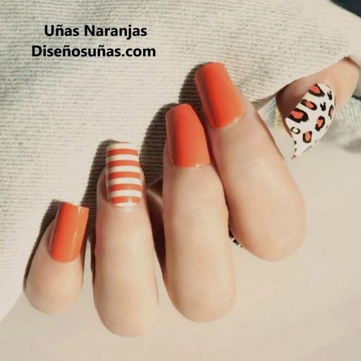 ejemplos de diseños de uñas naranjas elegantes y bonitos