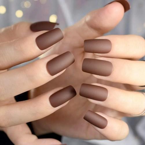 QSDFG Uñas postizas de Color marrón Chocolate Uñas heladas Mate Consejos de decoración de uñas largas y cuadradas