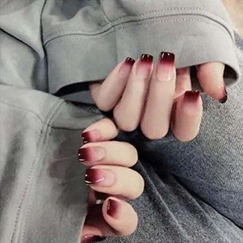 Uñas Postizas, Natural Francés Nails,24Pcs De Uñas Largas Falsas De Color Degradado De Vino Tinto, Uñas Falsas Populares De Moda...