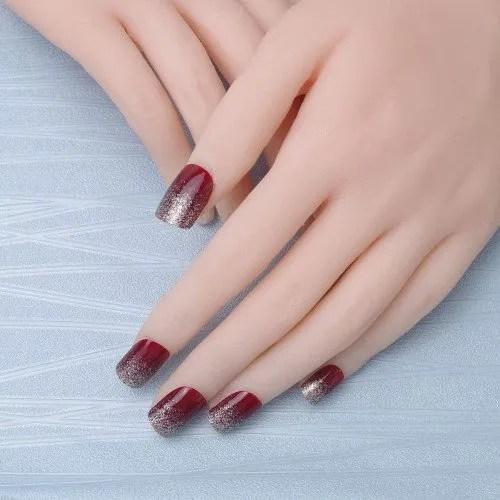 24 pcs vino sólido de 2 colores elegante misterio Glitter Rojo Negro Cuadrado corto Full Cover Acrílico Falsas Uñas artes