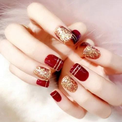 24 uñas postizas para decoración de uñas postizas, de tamaño corto, con pegamento, color rojo vino y purpurina, uñas postizas