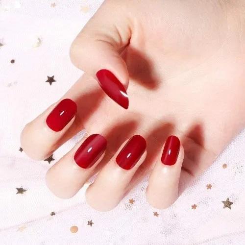 24 unidades de 12 diferentes tamaños de uñas postizas de color rojo vino, elegantes, color sólido