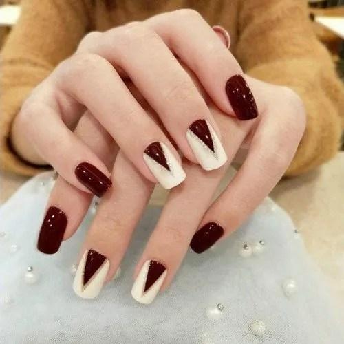 Juego de 24 uñas postizas elegantes de color rojo vino y blanco uñas postizas cortas cuadradas de cobertura completa para decoración de...
