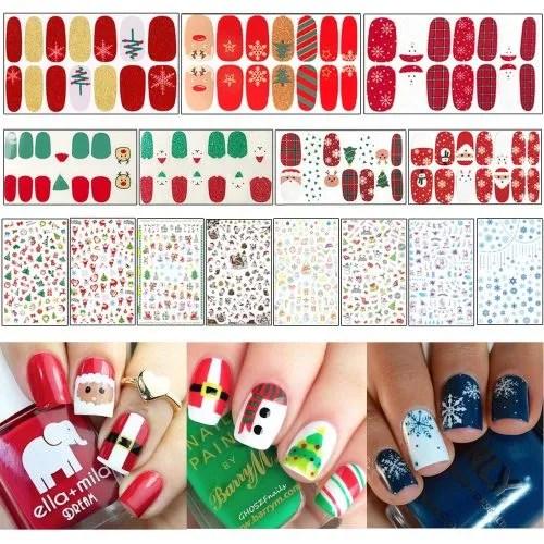Diseños y stickers para uñas de navidad