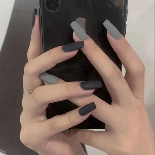 Clavos falsos cuadrados largos grises mate para uñas de acrílico 2022