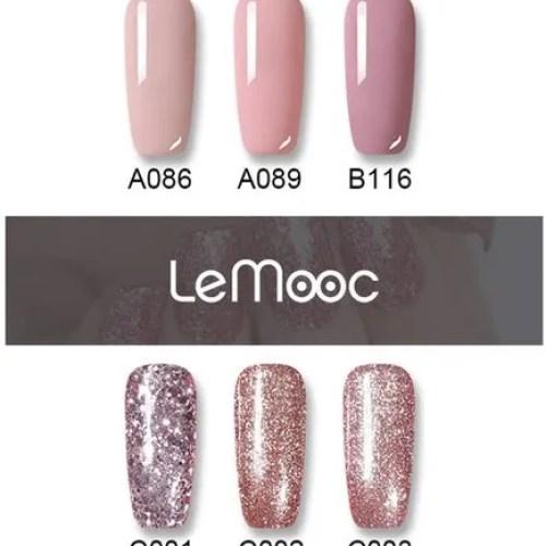 Esmalte de uñas de gel con purpurina en oro rosa 2022