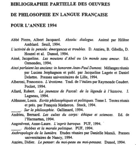 biblio philo 1994