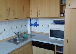 Die Einbauküche mit Mikrowelle, Spülmaschine und Kühlschrank.