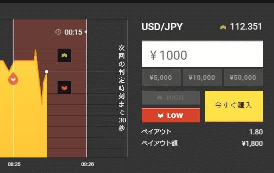「1,000円」「30秒後」「Low」で購入する
