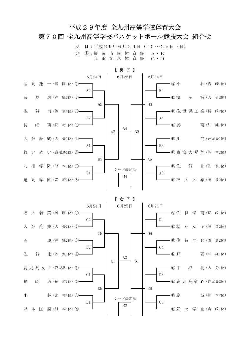 2017 第70回全九州高等学校バスケットボール競技大会 試合結果!