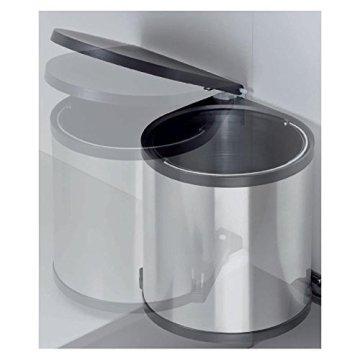 Einbau Abfallsammler-Kücheneimer 15 Liter Rund - Silber Optik