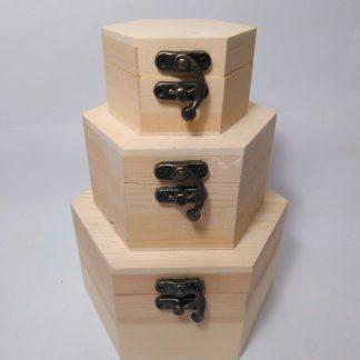 Cajas hexagonales de madera
