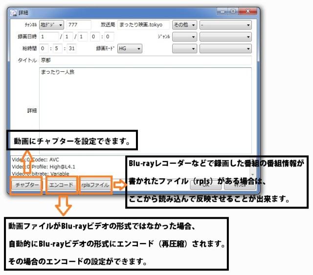 BDAVMakerの使い方4、ソフトの解説